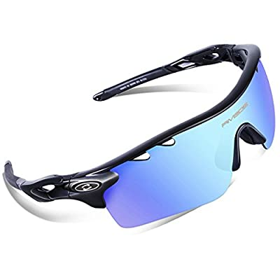 RIVBOS 801 Polarized Sports Sunglasses Sun Glasses with 5 Interchangeable Lenses for Men Women Baseball Cycling Runing …
