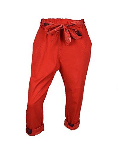 Cintura Pantaloni Civico 51 Con Vita Cotone Casual Rosso Alta A In Donna v576wq7