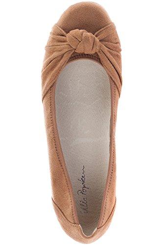 Ulla Popken Damer Store Størrelser Ballerina 714.468 Beige 6mmUPIC
