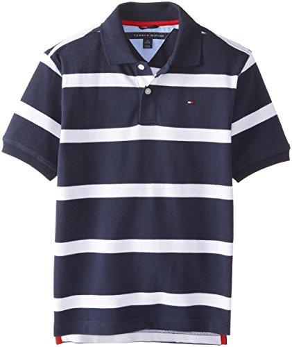 Tommy Hilfiger Big Boys' Clubhouse Stripe Polo, Swim Navy, X-Large