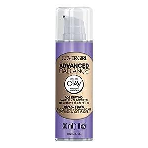 COVERGIRL Advanced Radiance Age Defying Liquid Foundation in Classic Ivory, 1 Bottle (1 oz), Hides Wrinkles & Lines, Sensitive Skin Safe