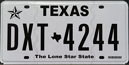 (Texas State License Plate Black Letters on White with the Lone Star State Logo)