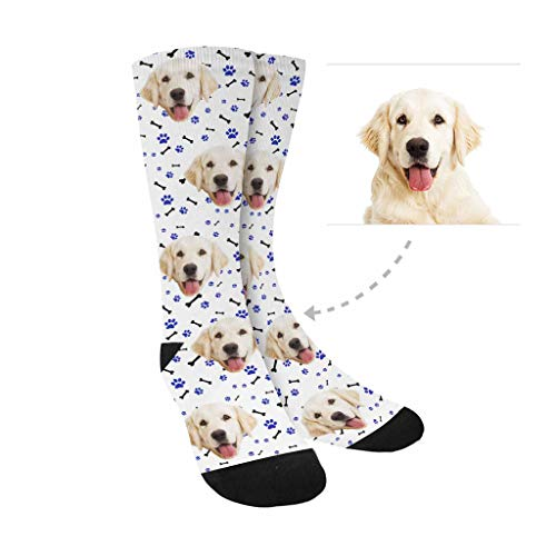 (Custom Print Your Photo Pet Socks, Custom Rose Bulldog White Paw Bone Crew Socks Unisex)