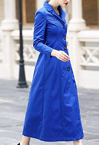 Pivaconis Women's Trench Coat Coat Longline Embroidered Buckle Topcoat Blue S by Pivaconis (Image #3)