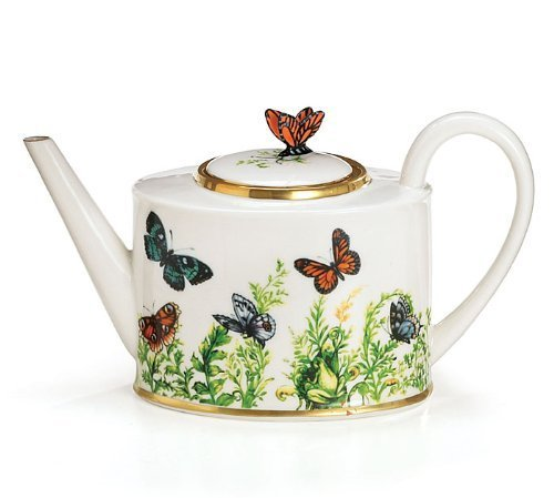 (Wings Of Grace Porcelain Butterfly Teapot With Gold Trim For Fine Dining,Home Decor And Collectors)