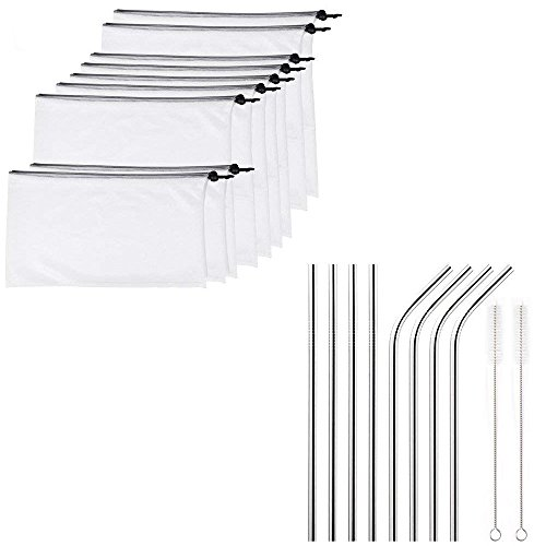 Mesh Bags and Straws, 9 Reusable Mesh Produce Bags with Drawstring, Double-Stitched Strength for Fruit, Vegetable | 8 Metal 10.5 Inch Stainless Steel Drinking Straws (4 Straight, 4 Ben, 2 Brushes) by Aulpon
