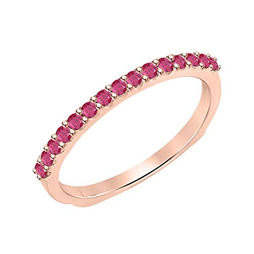 (tusakha 0.30 Ctw Round Cut Pink Ruby 14k Rose Gold Over .925 Sterling Silver Wedding Band Ring for Womens)
