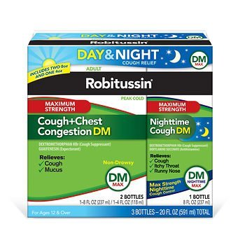 (Robitussin DM Max Cough and Chest Congestion Day and Night,(3 Bottles) 20 oz.)