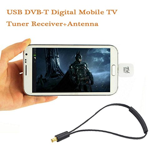 [Digital TV HDTV Stick Tuner Recorder Receiver],Micro USB DVB-T Digital Mobile TV Tuner Receiver+Antenna for Android 4.0-6.0 (White)