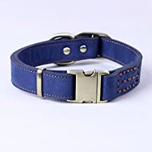 CHEDE Luxury Real Leather Dog Collar- Handmade For Medium And Large Dog Breeds With The Finest Genuine Leather-Best Quality Collar That Is Stylish ,Soft Strong And Comfortable-Blue Dog Collar
