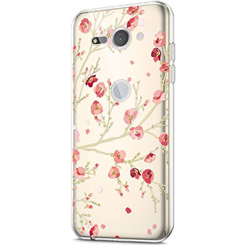 - Case for Sony Xperia XZ2 Compact,Crystal Clear Art Panited Design Soft Flexible TPU Transparent Rubber Gel TPU Protective Case Cover for Sony Xperia XZ2 Compact Silicone Case,Pink Plum blossom