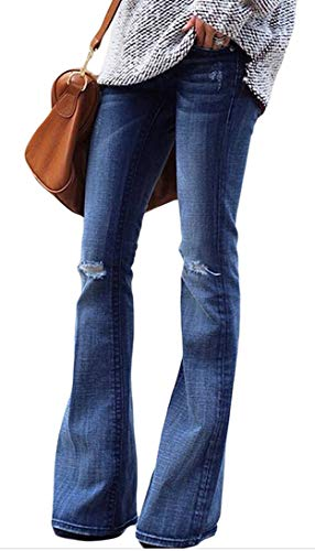 Women's Regular Fit Distressed Washed High Waist Stretch Flared Bootcut Jeans Blue