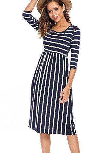 Naggoo Women's 3/4 Sleeve Striped Dress Elastic Waist Tunic T-Shirt Dress Pocket (X-Large, 6-Navy Blue)
