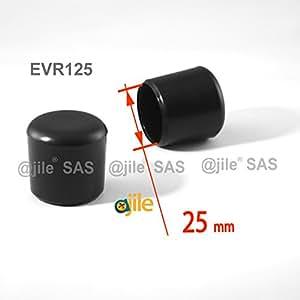 ajile - 4 piezas - Contera plástica redonda D: 25 mm - NEGRA - protector de suelo para patas de sillas - EVR125-M
