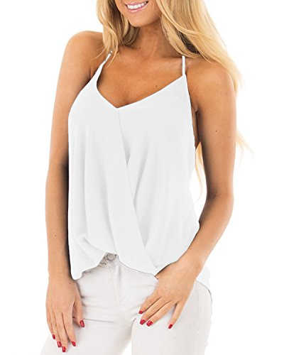 Style Dome Women Spaghetti Strap V Neck Sleeveless Pleated Backless Drape Wrap Cami Flowy Tank TopOff 1- White L