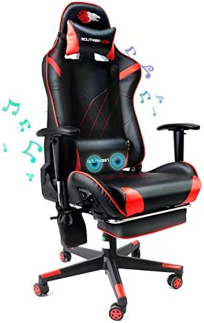 SOUTHERN WOLF Video Gaming Chair with Massage Function - Bluetooth Office Swivel Chair with Racing Style - Ergonomic Home Office Chair with Armrest Footres Headrest and Lumbar Support