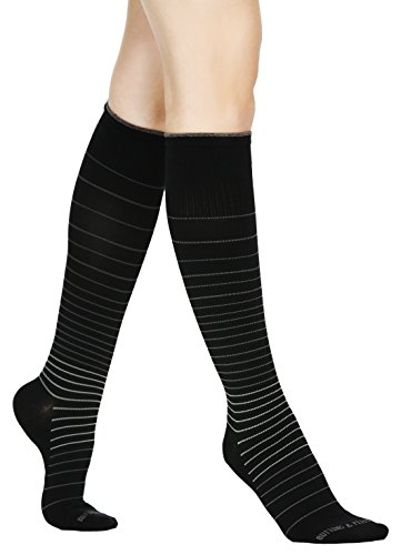 Buttons & Pleats Womens & Mens Medical Grade 20-30 mmHg Compression Socks Pinstriped ML