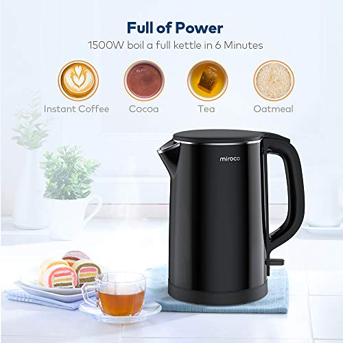 Electric Kettle, Miroco 1.5L Double Wall 100% Stainless Steel BPA-Free Cool Touch Tea Kettle with Overheating Protection, Cordless with Auto Shut-Off & Boil Dry Protection, 1500W Fast Boiling Heater by Miroco (Image #7)