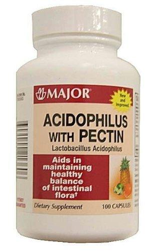 3 PACK ] MAJOR® ACIDOPHILUS WITH PECTIN 100 CAPSULES