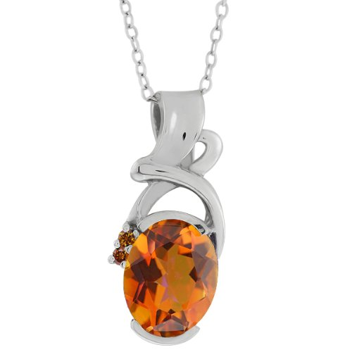 2.64 Ct Orange Mystic Quartz & Diamonds Silver Pendant