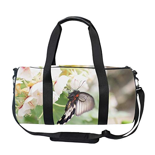 (Flowers Free Wallpaper Insect Round Duffel Sports Bags, Travel Gym Fitness)