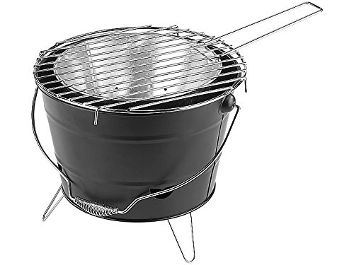 Mobiler Grilleimer Grill mit verchromtem Grillrost fast 30 CM Durchmesser