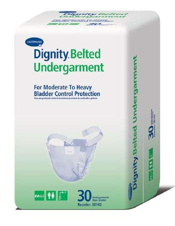 Adult Undergarment Ultrashield Dignity Belted One Size Fits Most Disposable Moderate Absorbency (#50102, Sold Per Case)