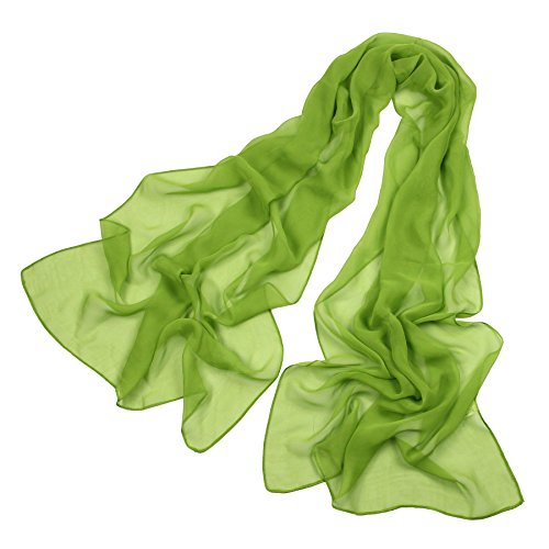 Long Chiffon Sheer Scarf For womens - PANTONIGHT FL001 2018 New Design for All Seasons Shaded Color Lightweight (plain green S)