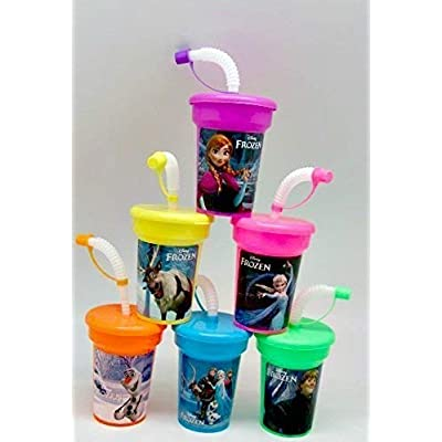 6 Frozen Ana Elsa Olaf Stickers Sipper with Lids Party Favor Cups …: Toys & Games