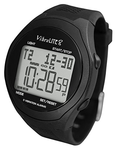 VibraLITE 8 - Vibrating Reminder Watch with Black Silicone Strap ()