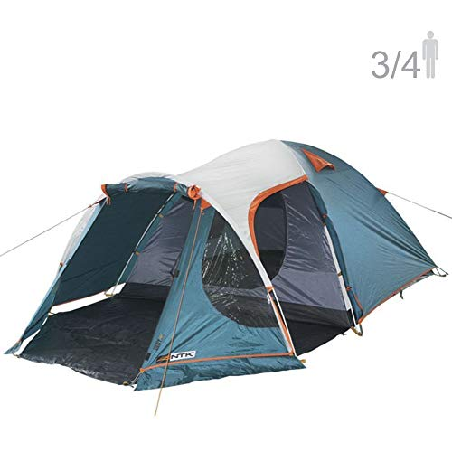 NTK INDY GT 3 to 4 Person 12 by 7 Foot Outdoor Dome Family Camping Tent 100% Waterproof 2500mm, European Design, Easy Assembly, Durable Fabric Full Coverage Rain fly - Micro Mosquito Mesh. ()