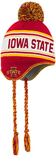 NCAA by Outerstuff NCAA Iowa State Cyclones Kids Jacquard Tassel Knit Hat w/ Pom, Red, Kids One Size