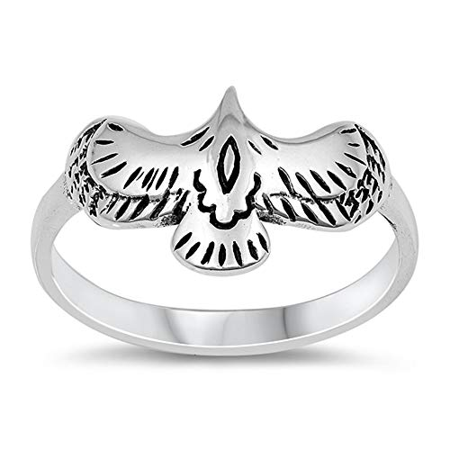 Princess Kylie Oxidized Sterling Silver Eagle Ring Size - Ring Sterling Eagle Silver