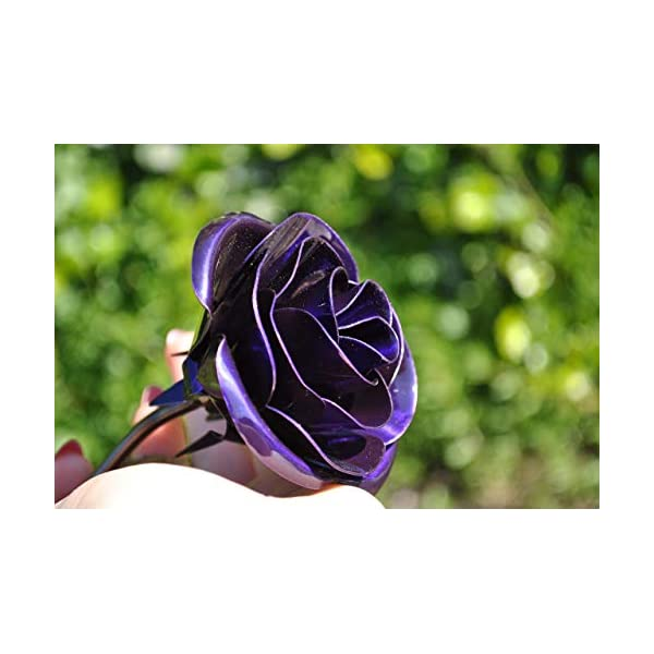 Personalized Gift Hand-Forged Wrought Iron Purple Metal Rose – Valentine's Day Gift