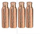 MegaCraft 100% Pure Copper Indian 4 Pcs Bottle Water Storage Bottle for Ayurveda Health Benefit Vessel Set.BAS-34