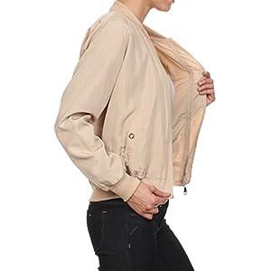 makeitmint Women's Solid Zip Flight Bomber Jacket w/ Zipper Pocket Medium_YJZ0012_Cream