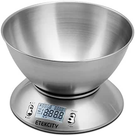Etekcity 11lb Digital Kitchen Food Scale, Stainless Steel, Alarm Timer, Temperature Sensor (Certified Refurbished)