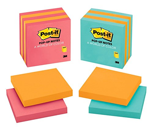 - Post-it Pop-up Notes,  America's #1 Favorite Sticky Note, 3 in x 3 in, Assorted Colors, 5 Pads/Pack (3301-5ALT-M)