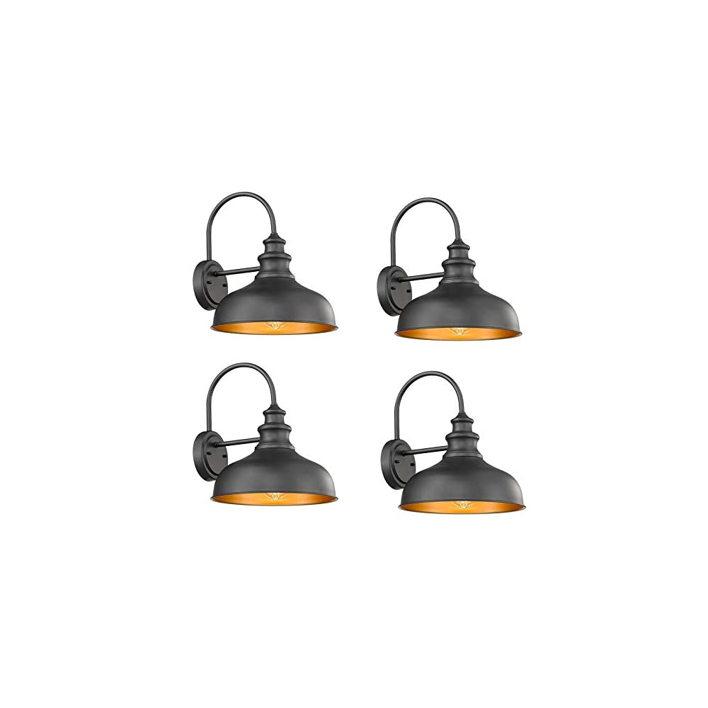 Bestshared Farmhouse Wall Mount Lights, Gooseneck Barn Light, Outdoor Wall Lantern for Porch with Black Finish and…