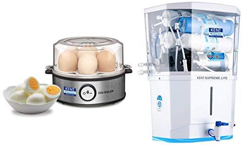 Kent Instant Egg Boiler 360-Watt (Transparent and Silver Grey) & KENT Supreme Lite 2020 (11110), Wall Mountable, RO + UF + TDS Control, 8 L Tank, White, 20 LPH Water Purifier