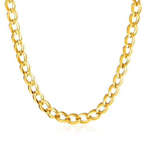 14K Yellow Gold Curb Style Necklace by Jewels By Lux
