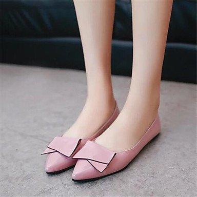 Cómodo y elegante soporte de zapatos de las mujeres pisos de primavera/verano/otoño/invierno cuero sintético comodidad/pisos oficina y carrera/casual soporte de talón con lazo rojo