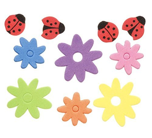(166 Piece Foam Flower and Ladybug Stickers )