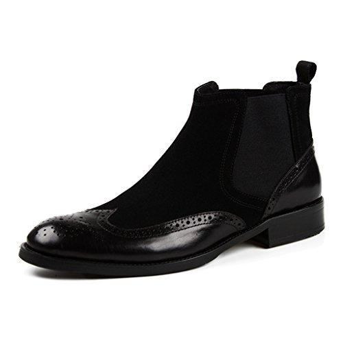 Herren Lederschuhe Herren Lederschuhe Business High-Top-Schuhe kurze Stiefel Nubuck britischen Stil Martin Stiefel Herrenschuhe ( Farbe : Schwarz , größe : EU 41/UK7 ) Schwarz