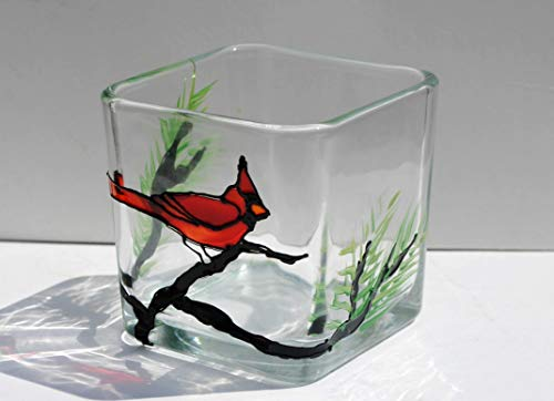 Red Cardinal Bird Stained Glass Hand Painted Square Candle Holder Home Decor