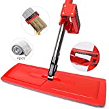 Floor Lazy Mop, YAMTION Dry and Wet 360° Hands–free Automatic Squeeze Mop, Self Wringing Flat Mop with 4 Microfiber Mop Pads for Hardwood, Laminate and Tile Flooring, Window