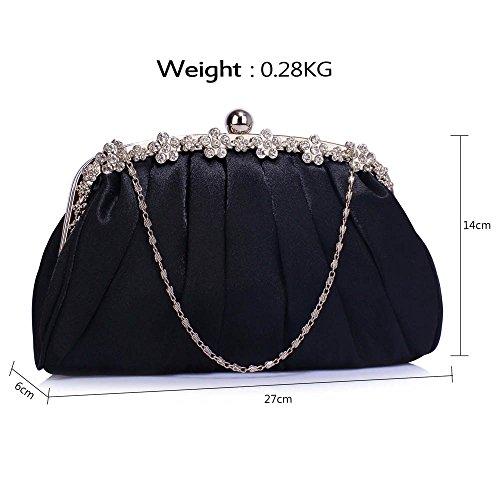 Bolso de embrague para mujer, diseño cristal Black Satin Clutch