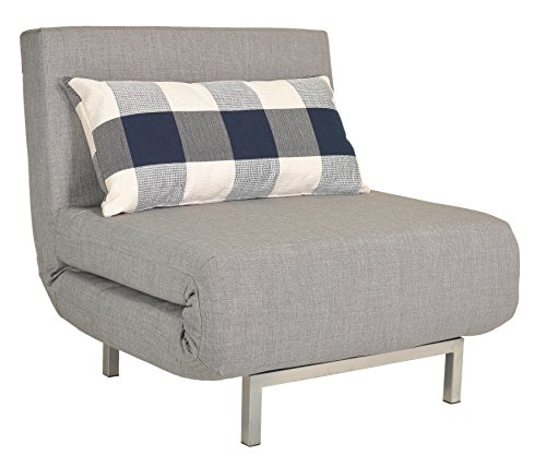 (Cortesi Home Savion Grey Convertible Accent Chair Bed)