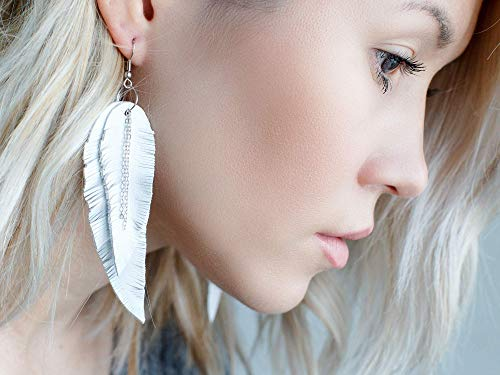 Boho Leather Earrings Stacked Leather Earrings White Chickens on Red Layered Leather Feather Earrings Chicken Earrings