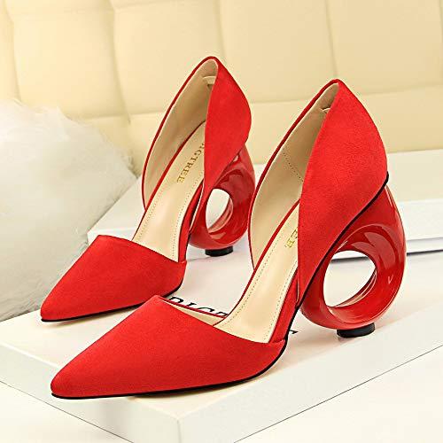 HOESCZS Fashion à Talons Hauts en Daim Peu Profonde Bouche des Pointu Creux Chaussures Creuses Rondes avec des Bouche Sandales Creuses, 38EU red 414d23